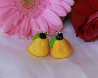 Yellow pears earrings in polymer clay
