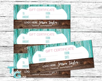 Gift Certificates - Custom Gift Certificate - Gift - Printable Gift Certificates - Personalized - Branding Kit - Shabby Chic - Teal - Wood