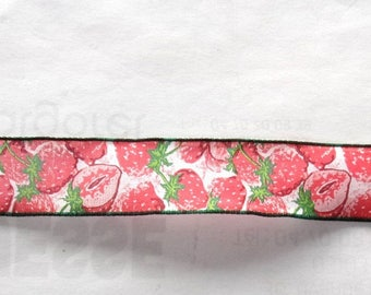 4 m Ribbon motifs STRAWBERRIES width 25 mm - color red pink green REF. 309