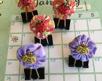 Cute Binder Clips-Ladybug- Bee Paper Clip Bookmark-Handmade Clip-Document Faith-Fabric-Planner Accessories-Bible Journals-Planner Bookmark