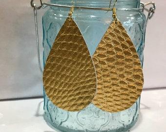 Metallic gold snake skin texture leather teardrop earring