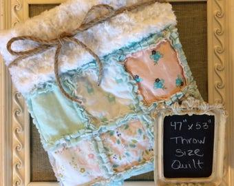 Handmade Throw Size Rag Quilt