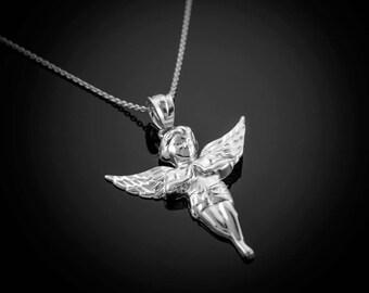 Polished Sterling Silver Angel Pendant Necklace