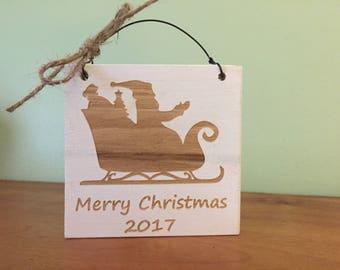 Wood Christmas ornament. Merry Christmas ornament. Merry Christmas 2017 ornament. Rustic Christmas ornament.
