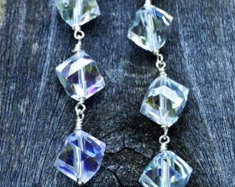 AB Crystal Dangle Earrings with Silver Lever Backs