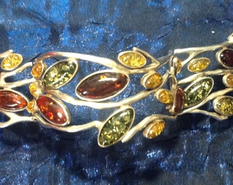 Baltic Amber 3-Tone Bracelet Leaf Motif