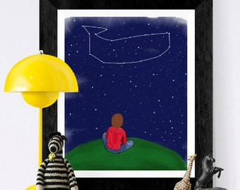 Nursery print - Stars and constellations - whale constellation - stargazing - hand drawn -  watercolor illustration - imagination
