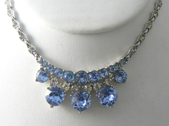 Pretty vintage bogoff blue rhinestone necklace unique for Bogoff vintage costume jewelry