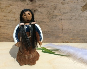 Lakota Sioux Native American Indian Woman Toy, Mother Doll for Lakota Sioux Collection, Little Miniature Toy Figure with hair and necklace