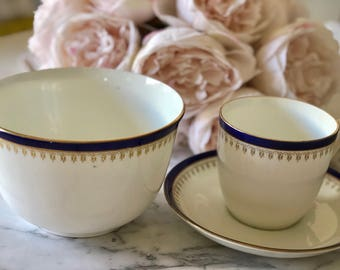 Blue, White and Gold China Cup, Bowl and Saucer Set. Fine China.