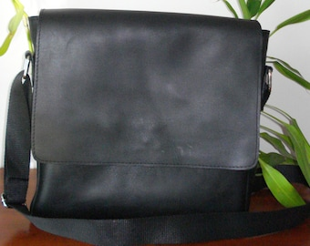 Hand made Leather cross body bag, Black, Man's bag
