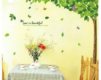 Grünen Baum Wand Aufkleber Baum Vinyl WandTattoo Schmetterling Aufkleber  Wandtattoo Wand Aufkleber Abnehmbare Dekorative Wand