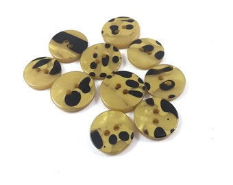 Dalmatian black and gold plastic sewing buttons - set of 10 vintage suit buttons 18-20mm