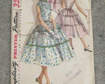 1956 Simplicity sewing pattern 1564  MISS size 14 bust 32 summer dress