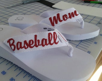 Baseball/softball mom flip flops