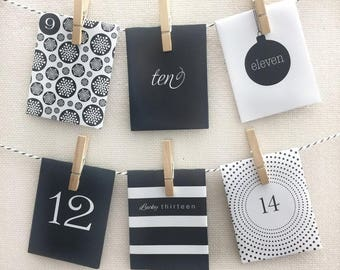 24 Day Advent Calendar - Christmas Countdown - Paper Envelope  (Oh So Chic Monochrome Design)