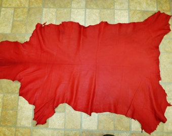 Leather 6 - 7 sq ft Deep Red Cationic Finished Goatskin Hide (not this hide, a similar one) 2-2.5 oz / 0.8-1 mm PeggySueAlso™ E2787-11