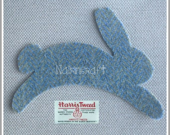 Rabbits - Applique - Patch - Harris Tweed - Soft Blue - Wool Fabric - Cut Out - Iron On - Sew On - Rabbit Motif - Rabbit Embellishments