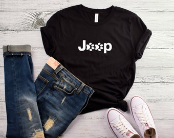 Jeep Pawprint Ladies' Crewneck T-Shirt | Available in 2 Colors | Perfect for Dog OR Cat Moms