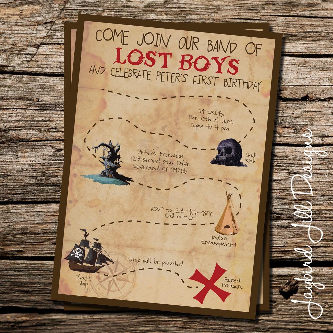 Lost Boys Birthday Invitation / Peter Pan Neverland Party /