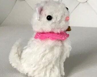 FREE US SHIPPING Cute White Kitty Cat Stuffed Animal Crazy Gift Ooak Plush Plushie Soft Softie Kitten