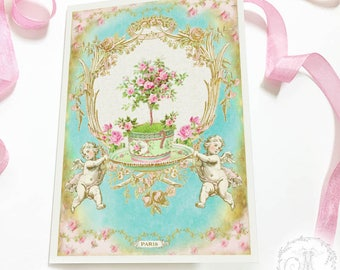French baroque, romantic card, Birthday card, Valentine's Day, Wedding card, card for her, all occasion card