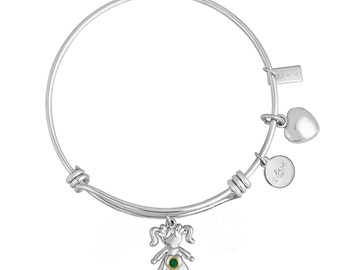 Charm Bracelet With Heart And Little Girl Charm With Personalized Birthstone In Brass