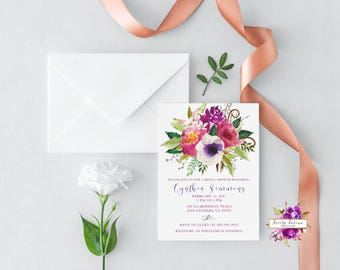 Spring Bridal Shower - Bridal Shower Invitation - Purple and Pink Watercolor - Pink and Purple Flowers - Digital Printable Invitation