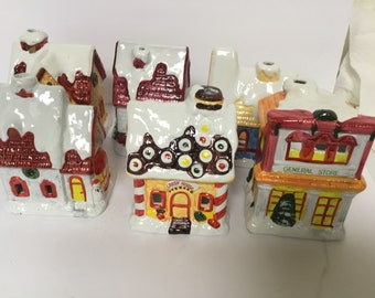 Vintage Christmage Village Houses Ceramic Candleholders