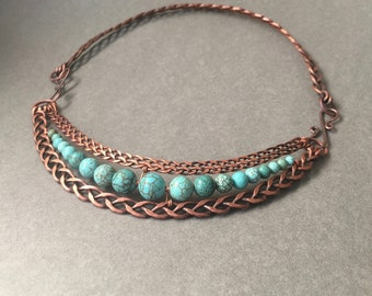 Braided copper necklace with turquoise stones, hand made chain