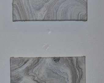 Set of Two Hand-Painted Marbled Canvases