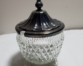Silver and glass sugar bowl