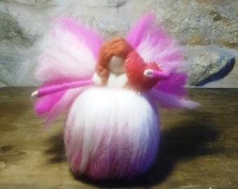 needle felt fairy, valentine fairy, valentine angel, merino valentine, felt valentine elf, felt love heart, wool fairy, elf kendal fairies