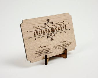 Wooden Wedding / Engagement Invitation - Classic