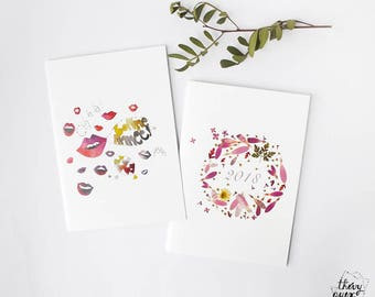 Happy New Year fun card, 2018 New Year card, Greetings, 2018, Red lips, Flower card, Cute cards, Seasons greetings card, Holiday card