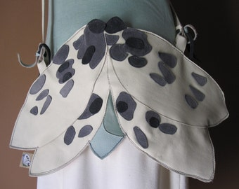 Japanese Watercolor - Completely Handmade Fantasy Butterfly Real Italian Leather Bag - One of a Kind