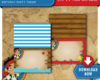 Jake and the Neverland Pirates Food Tent Cards | Pirate Birthday Party Labels | Printable | Invitation & Party Kit Available | Download Now