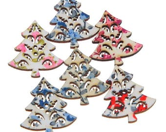 5 buttons - fir trees multi-colored Christmas - 2 holes - 30x27mm