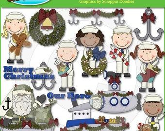 Christmas Wishes Navy Clip Art