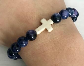 Hematite Blue Cream Cross Beaded Bracelet