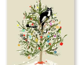 Funny Christmas Card - Christmas Tree Cat - Cat Christmas Card