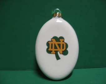 3 inch round ceramic Notre Dame Fighting Irish  hanging ornament.... awesome!!!