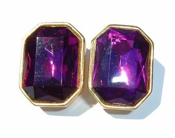 80s Deep Fandango colored Foiled Crystal Rhinestone Clip Earrings by Ellen Designs