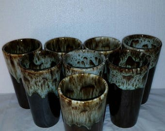 """Canonsburg Pottery Tumblers 5 1/2"""" Brown Drip Green Edges USA set of 8"""