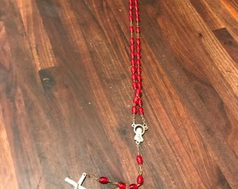 Vintage Rosary  --red glass rosary