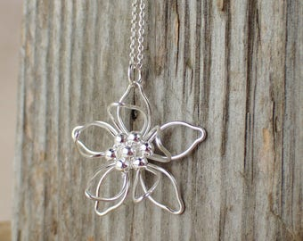925 Sterling Silver Flower Pendant Sterling Silver Necklace Flower