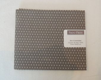 Background taupe beige dots pattern cotton fabric coupon