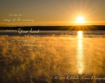 Scripture Wall Art // Canvas Gallery Wrap // Misty Lake Sunrise Photograph // Psalm 139:9-10