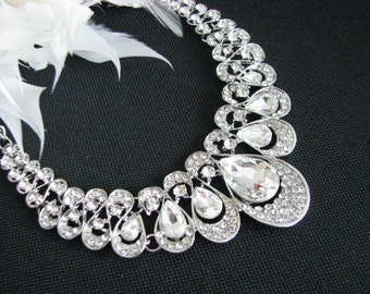 Sparkle Statement Wedding Necklace Great Bridal Wedding Jewelry Pageant Jewelry Bridal Statement Necklace  Set, Vintage Style