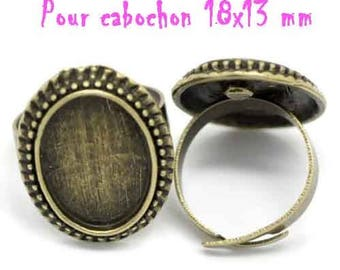 10 blank ring cabochon 13 x 18 mm